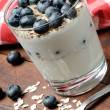 Yogurt and blueberries — Stock Photo