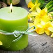 Spring setting with yellow narcissus and candle — Stock Photo #12728065