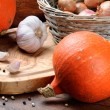 Fall still-life with pumpkins - Stock Photo