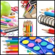 Colorful school supplies. Collage - Stock Photo