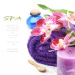 Spa setting in purple tone - Stock Photo