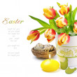 Easter set with spring tulips and candle — Stock Photo