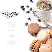 Coffee and French macaroons — Stock Photo