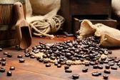 Ajuste vintage con café — Foto de Stock