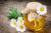 Glass pot of honey with daisies — Stock Photo