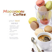 Macaroons and coffee — Stock Photo