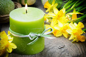Spring setting with yellow narcissus and candle — Stock Photo
