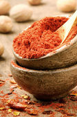 Red hot chili powder and flakes — Stock Photo
