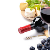 Red wine with French cheese selection — Stockfoto