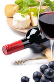 Red wine with French cheese selection — Stock Photo