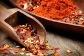 Red hot chili flakes and powder — Stock Photo