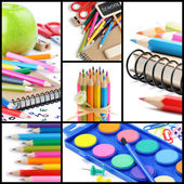 Colorful school supplies. Collage — Stock Photo