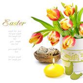 Ostern-set mit frühling und kerze — Stockfoto
