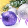 Christmas balls on festive background — Stock Photo #12741552