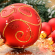 Christmas balls on festive background - Stock Photo