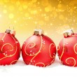 Stock Photo: Red Christmas balls on festive abstract background