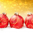 Royalty-Free Stock Photo: Red Christmas balls on festive abstract background