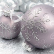 Royalty-Free Stock Photo: Christmas balls on the silver background
