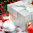 Christmas gift box with festive decoration — Stock Photo
