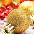 Stock Photo: Golden Christmas balls