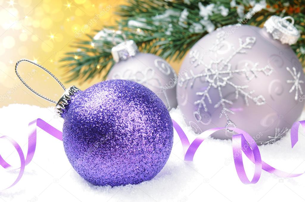 Christmas balls on golden festive background  Stock Photo #12741552
