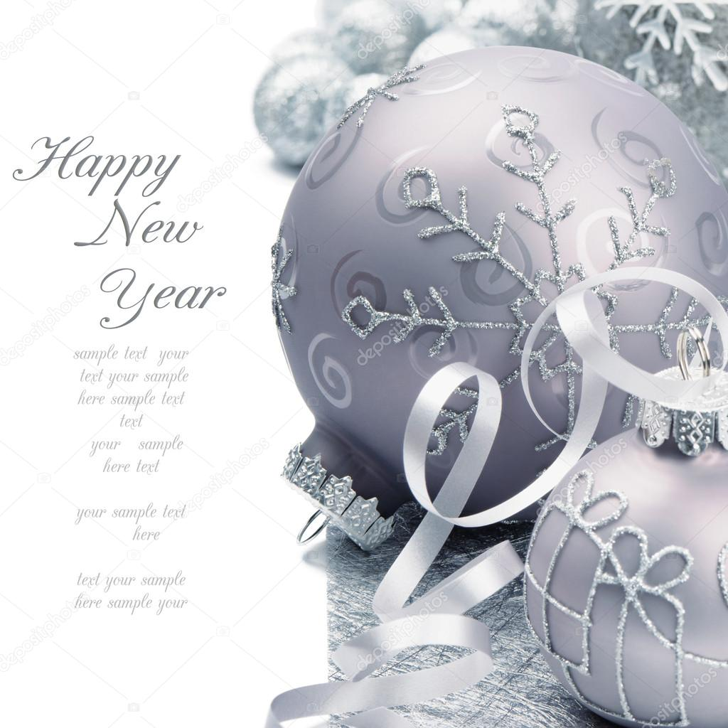 Christmas balls on the festive silver background — Stock Photo #12741555