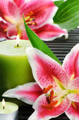 Spa still life with candle and pink lilies — Stock Photo