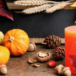 Autumn frame with pumpkins and candle — Stock Photo