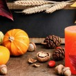Stock Photo: Autumn frame with pumpkins and candle