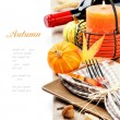 Thanksgiving table setting with pumpkins and candle - Zdjęcie stockowe