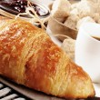 Breakfast with coffee, French croissant and jam - Stock Photo