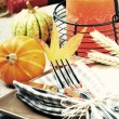 Thanksgiving table setting - Zdjęcie stockowe