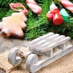 decoração de Natal com mini trenó — Foto Stock