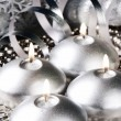 Christmas candles in silver tone - Stock Photo