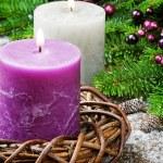 Burning candles on festive Christmas background — Stock Photo