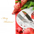 Christmas menu concept isolated over white — 图库照片