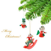Christmas tree branch with vintage decoration — Stock Photo