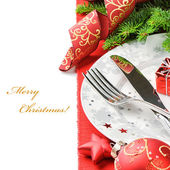 Christmas menu concept isolated over white — Stock Photo