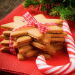 Christmas gingerbread cookies and candy cane — Stockfoto