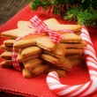 Christmas gingerbread cookies and candy cane — Stock Photo