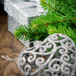 Christmas decorations in silver tone — Stock Photo