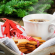 Christmas coffee and gingerbread cookies - Stock Photo