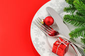 Christmas menu concept on red background — Stock Photo