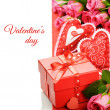 Valentine's gift box with pink roses — Stock Photo #19076051