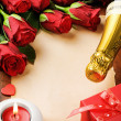 Royalty-Free Stock Photo: Valentine\'s frame with red roses and vintage paper