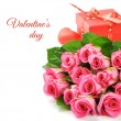 Bouquet of pink roses with Valentine's present — Stock Photo #19183123