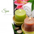 Spa setting with candles and lily — Stock Photo #19605717