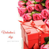 Valentine's gift box with pink roses — Stock Photo