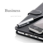 Business concept. Mobile phone, tablet pc and pen — Stock Photo