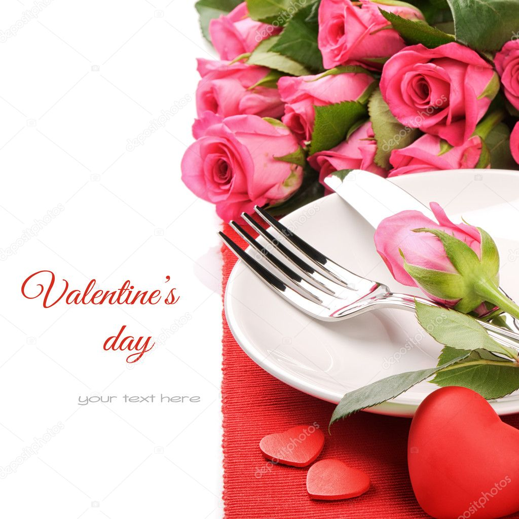 St Valentine's menu concept isolated over white  Foto Stock #19622497